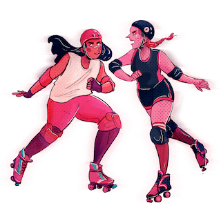 Two roller derby skaters about to ???